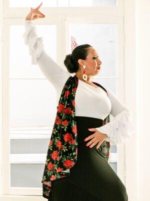 Colete Flamenco Longo Veludo Estampa Rosas