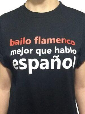 Camiseta Flamenca Preta Bailo Flamenco