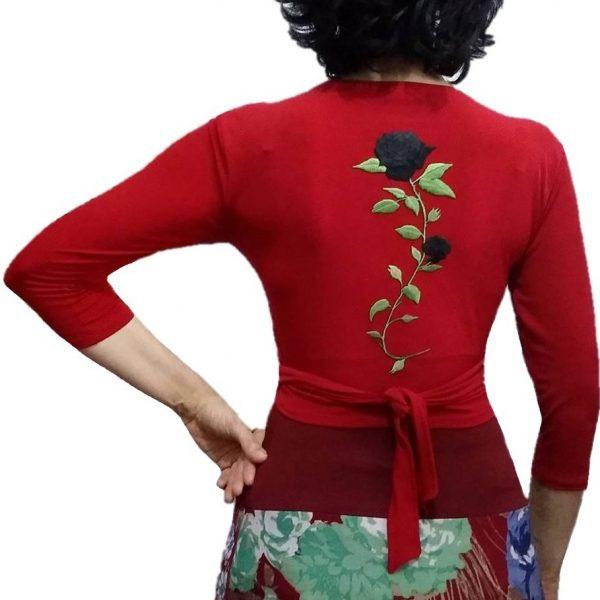 Casaco Flamenco Manguito Vermelho Flor Preta