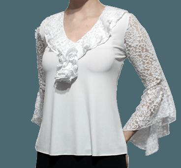 Blusa begônia manga em renda evasé branca