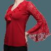 Blusa begônia vermelha manga em renda evasé