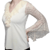 Blusa Flamenca Begônia Marfim Manga em Renda Evase