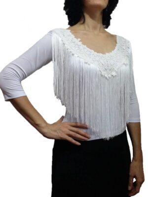 Blusa Flamenca Magnólia Franja Guipure Branca