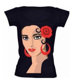 Camiseta Baby Look Flamenca Bailaora Preta