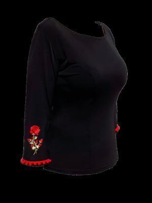 Blusa Flamenca Magnólia Preta Madroños Vermelhos com Flor Aplicada