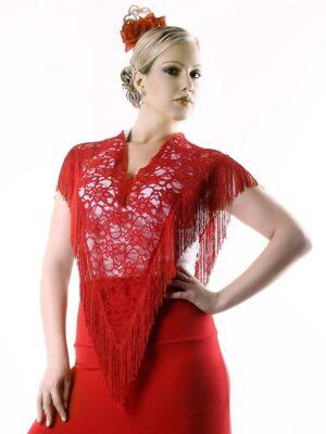 Pala Flamenco Franja Renda Vermelho