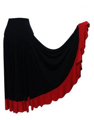 Saia hibisco preta com babado vermelho