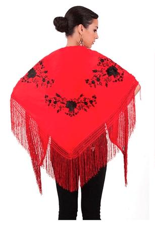 Xale espanhol triangular (pico) vermelho com flores pretas 160x80cm