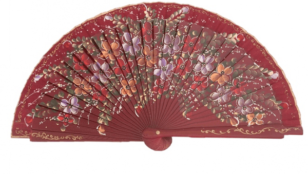 Leque abanico pequeno 16cm vermelho floral