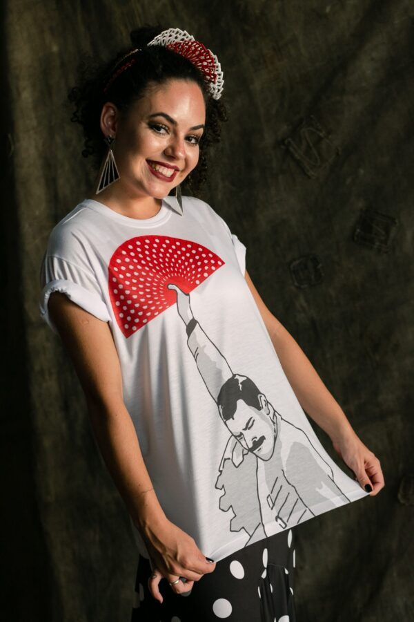 Camiseta Flamenca Freddie Mercury Branca