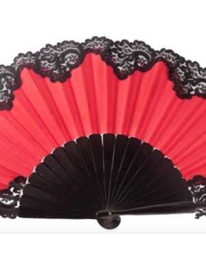 Leque Flamenco Abanico Pericón Vermelho com Renda Preta 31cm