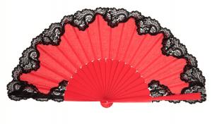 Leque abanico pericón vermelho com preto 31cm renda