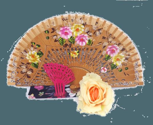 Kit Caramelo Leque Flor Peineta