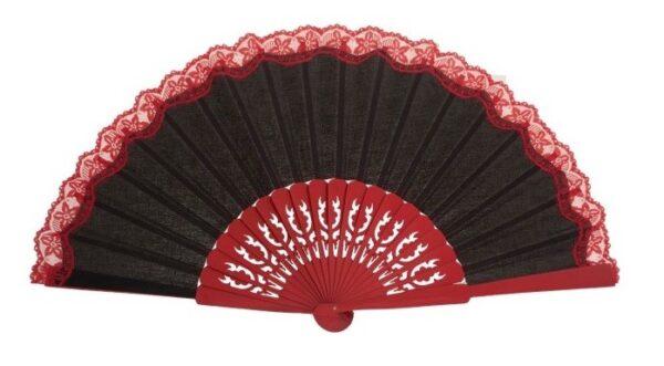 Leque abanico pericón vazado preto com renda vermelha 31cm