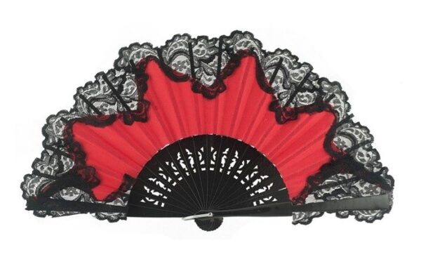 Leque Flamenco Abanico Vermelho Renda Preta 25cm