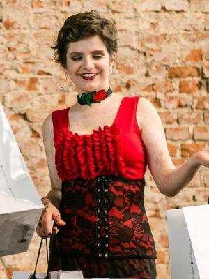 Corset Cinturão Flamenco Vermelho Renda Preta