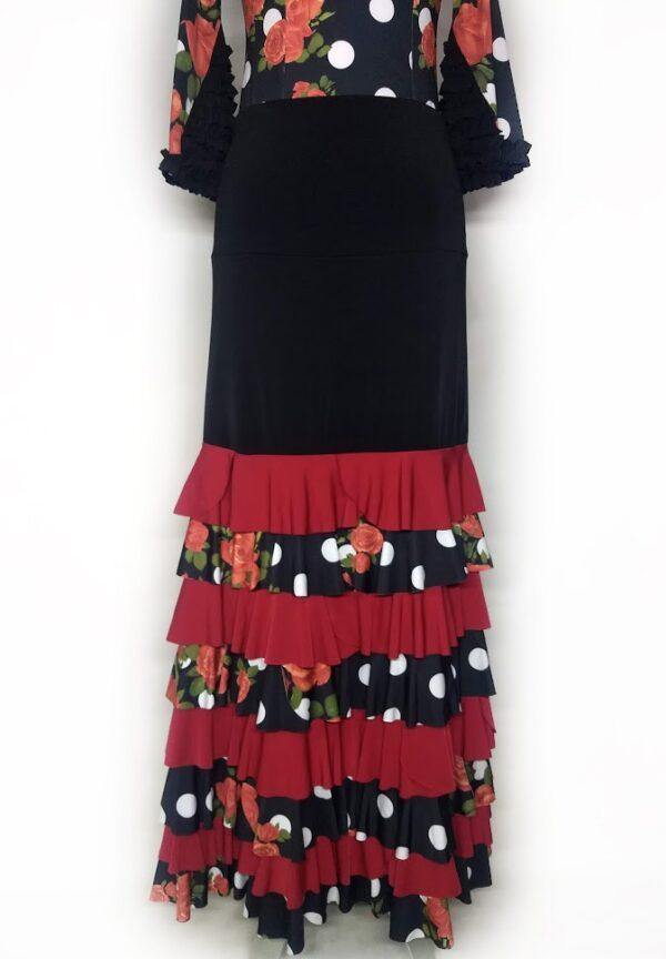 Saia Flamenca Bromélia 8 Babados Vermelho e Estampa Rosas Poá