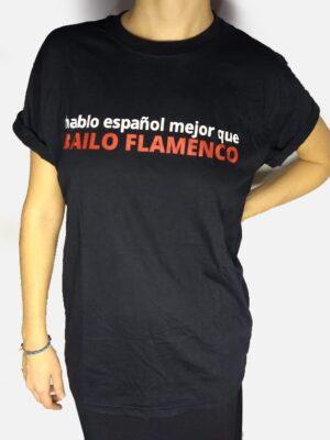 Camiseta Flamenca Hablo Español Preta