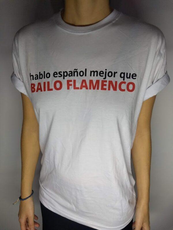 Camiseta Flamenca Branca Hablo Español