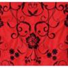 Xale espanhol triangular (pico) vermelho com flores pretas grandes160x80cm
