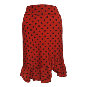 Saia Flamenca Midi Zinia Vermelha Poá