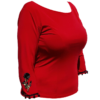 Blusa Flamenca Magnólia Vermelha Madroños Pretos com Flor Aplicada