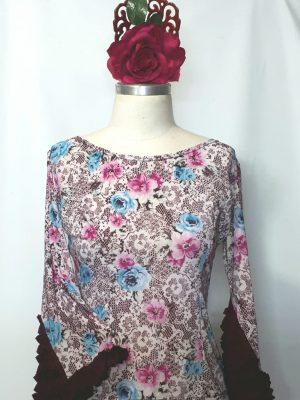 Blusa Flamenca Camélia  Estampa floral com babadinhos bordôs